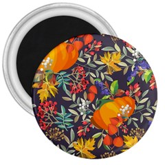 Autumn Flowers Pattern 12 3  Magnets by tarastyle