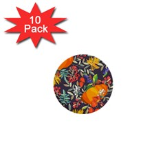Autumn Flowers Pattern 12 1  Mini Buttons (10 Pack)  by tarastyle