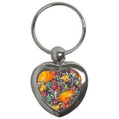 Autumn Flowers Pattern 12 Key Chains (heart)  by tarastyle