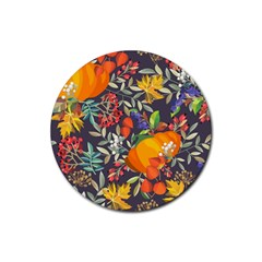Autumn Flowers Pattern 12 Rubber Coaster (round)  by tarastyle