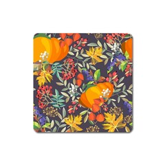 Autumn Flowers Pattern 12 Square Magnet by tarastyle