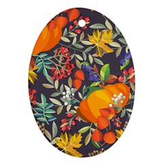 Autumn Flowers Pattern 12 Oval Ornament (two Sides) by tarastyle