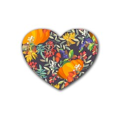 Autumn Flowers Pattern 12 Rubber Coaster (heart)  by tarastyle