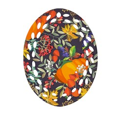 Autumn Flowers Pattern 12 Oval Filigree Ornament (two Sides) by tarastyle