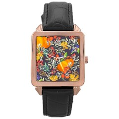 Autumn Flowers Pattern 12 Rose Gold Leather Watch  by tarastyle