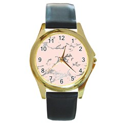 Luxurious Pink Marble 1 Round Gold Metal Watch by tarastyle