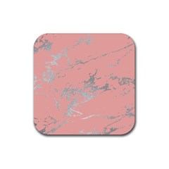 Luxurious Pink Marble 6 Rubber Coaster (square)  by tarastyle