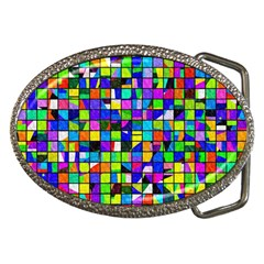 Colorful Squares Pattern                             Belt Buckle by LalyLauraFLM