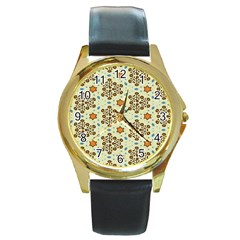 Stars And Other Shapes Pattern                               Round Gold Metal Watch by LalyLauraFLM