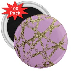 Modern,abstract,hand Painted, Gold Lines, Pink,decorative,contemporary,pattern,elegant,beautiful 3  Magnets (100 Pack) by 8fugoso