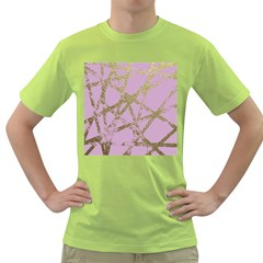 Modern,abstract,hand Painted, Gold Lines, Pink,decorative,contemporary,pattern,elegant,beautiful Green T Shirt by 8fugoso