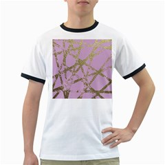 Modern,abstract,hand Painted, Gold Lines, Pink,decorative,contemporary,pattern,elegant,beautiful Ringer T Shirts by 8fugoso