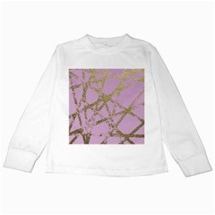 Modern,abstract,hand Painted, Gold Lines, Pink,decorative,contemporary,pattern,elegant,beautiful Kids Long Sleeve T Shirts by 8fugoso