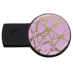 Modern,abstract,hand Painted, Gold Lines, Pink,decorative,contemporary,pattern,elegant,beautiful Usb Flash Drive Round (4 Gb) by 8fugoso