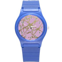 Modern,abstract,hand Painted, Gold Lines, Pink,decorative,contemporary,pattern,elegant,beautiful Round Plastic Sport Watch (s) by 8fugoso