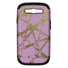 Modern,abstract,hand Painted, Gold Lines, Pink,decorative,contemporary,pattern,elegant,beautiful Samsung Galaxy S Iii Hardshell Case (pc+silicone) by 8fugoso