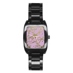 Modern,abstract,hand Painted, Gold Lines, Pink,decorative,contemporary,pattern,elegant,beautiful Stainless Steel Barrel Watch by 8fugoso