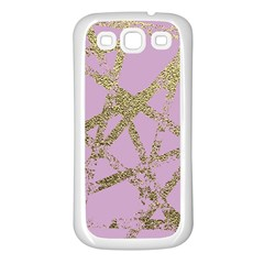 Modern,abstract,hand Painted, Gold Lines, Pink,decorative,contemporary,pattern,elegant,beautiful Samsung Galaxy S3 Back Case (white) by 8fugoso
