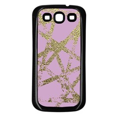 Modern,abstract,hand Painted, Gold Lines, Pink,decorative,contemporary,pattern,elegant,beautiful Samsung Galaxy S3 Back Case (black) by 8fugoso