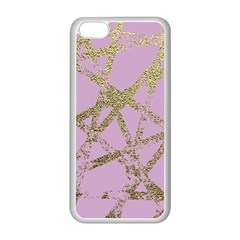 Modern,abstract,hand Painted, Gold Lines, Pink,decorative,contemporary,pattern,elegant,beautiful Apple Iphone 5c Seamless Case (white) by 8fugoso