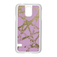 Modern,abstract,hand Painted, Gold Lines, Pink,decorative,contemporary,pattern,elegant,beautiful Samsung Galaxy S5 Case (white) by 8fugoso