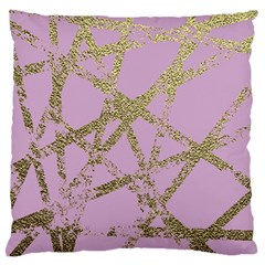 Modern,abstract,hand Painted, Gold Lines, Pink,decorative,contemporary,pattern,elegant,beautiful Large Flano Cushion Case (two Sides) by 8fugoso