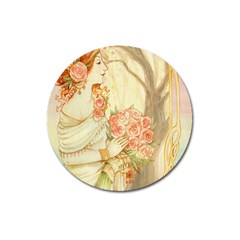 Beautiful Art Nouveau Lady Magnet 3  (round) by 8fugoso