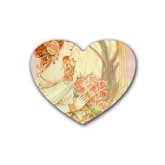 Beautiful Art Nouveau Lady Heart Coaster (4 Pack)  by 8fugoso