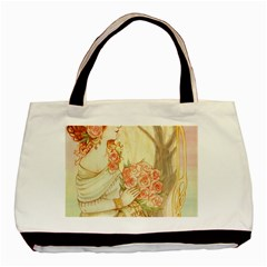 Beautiful Art Nouveau Lady Basic Tote Bag (two Sides) by 8fugoso