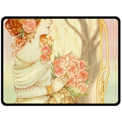 Beautiful Art Nouveau Lady Fleece Blanket (large)  by 8fugoso