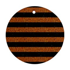 Stripes2 Black Marble & Rusted Metal Ornament (round) by trendistuff