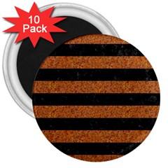 Stripes2 Black Marble & Rusted Metal 3  Magnets (10 Pack)  by trendistuff