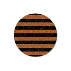 Stripes2 Black Marble & Rusted Metal Magnet 3  (round) by trendistuff