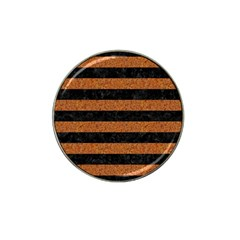 Stripes2 Black Marble & Rusted Metal Hat Clip Ball Marker by trendistuff