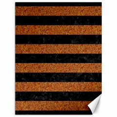 Stripes2 Black Marble & Rusted Metal Canvas 12  X 16   by trendistuff