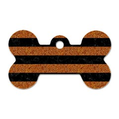 Stripes2 Black Marble & Rusted Metal Dog Tag Bone (two Sides)