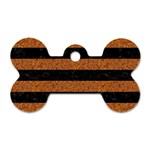 STRIPES2 BLACK MARBLE & RUSTED METAL Dog Tag Bone (Two Sides) Back