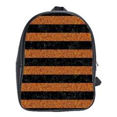 Stripes2 Black Marble & Rusted Metal School Bag (large) by trendistuff