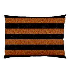 Stripes2 Black Marble & Rusted Metal Pillow Case (two Sides) by trendistuff