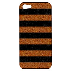 Stripes2 Black Marble & Rusted Metal Apple Iphone 5 Hardshell Case by trendistuff