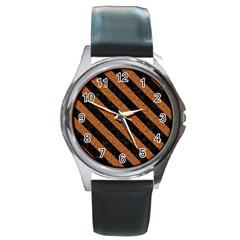 Stripes3 Black Marble & Rusted Metal Round Metal Watch by trendistuff