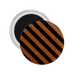 Stripes3 Black Marble & Rusted Metal 2 25  Magnets by trendistuff