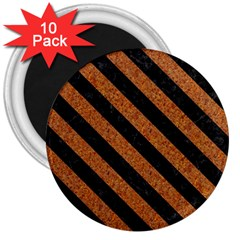 Stripes3 Black Marble & Rusted Metal 3  Magnets (10 Pack)  by trendistuff