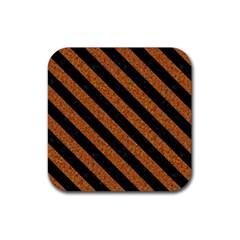 Stripes3 Black Marble & Rusted Metal Rubber Square Coaster (4 Pack)  by trendistuff