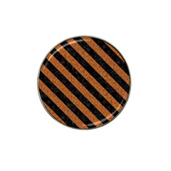 Stripes3 Black Marble & Rusted Metal Hat Clip Ball Marker by trendistuff