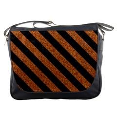 Stripes3 Black Marble & Rusted Metal Messenger Bags by trendistuff