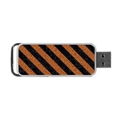 Stripes3 Black Marble & Rusted Metal Portable Usb Flash (one Side) by trendistuff