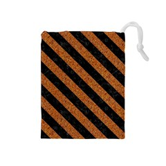 Stripes3 Black Marble & Rusted Metal Drawstring Pouches (medium)  by trendistuff