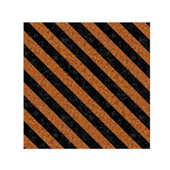 Stripes3 Black Marble & Rusted Metal Small Satin Scarf (square) by trendistuff