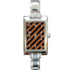 Stripes3 Black Marble & Rusted Metal (r) Rectangle Italian Charm Watch by trendistuff